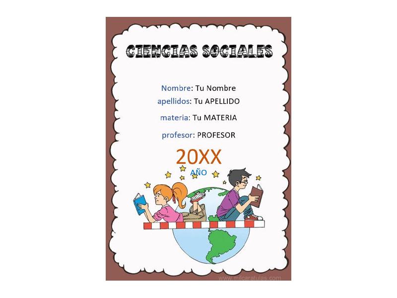 Caratula y Portada de Ciencias Sociales en Word 5