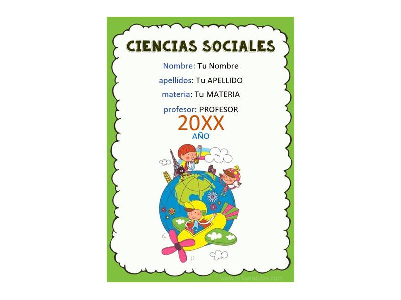 Caratula y Portada de Ciencias Sociales en Word 6