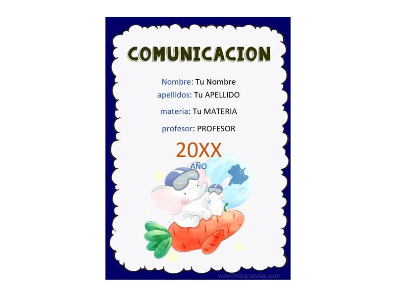 Caratula y Portada de Comunicación en Word 2