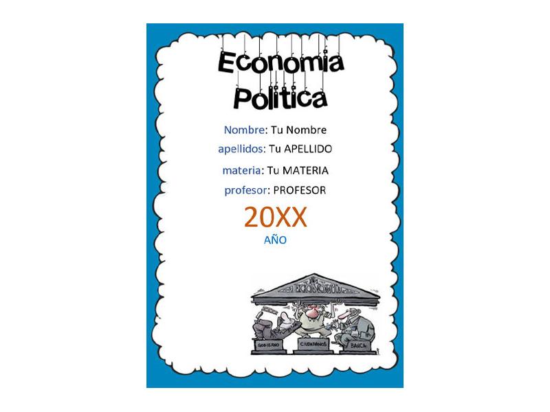 Caratula y Portada de Economía Política en Word 1