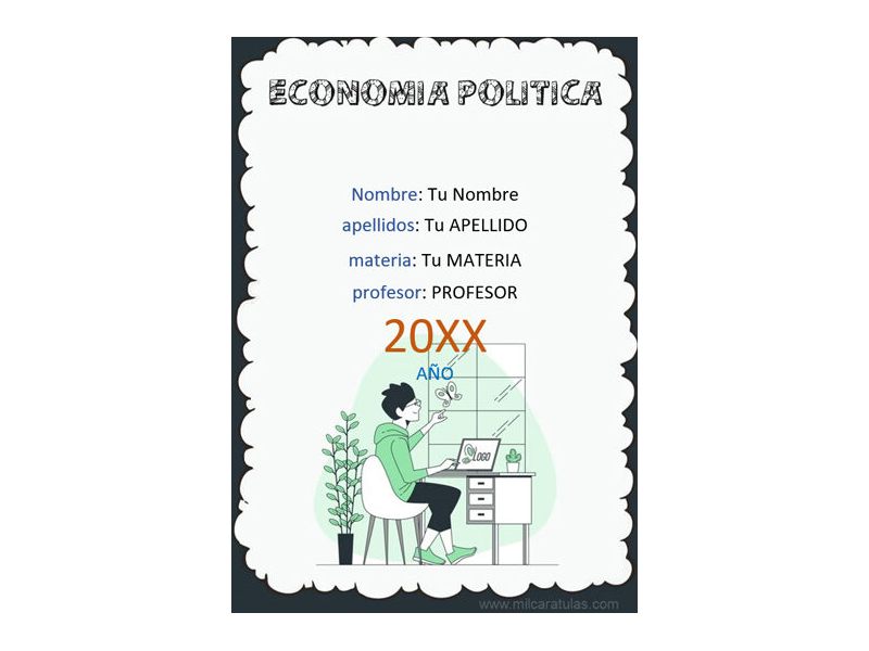 Caratula y Portada de Economía Política en Word 2