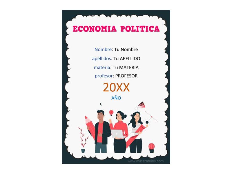 Caratula y Portada de Economía Política en Word 5