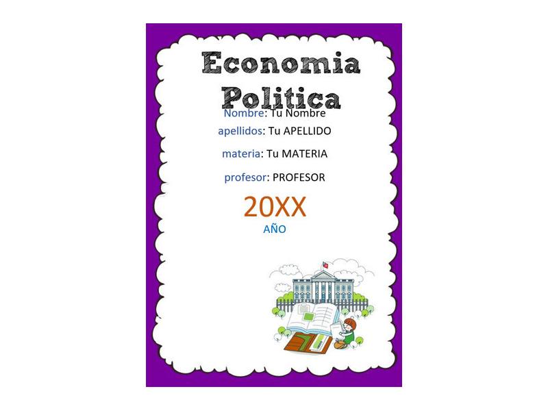 Caratula y Portada de Economía Política en Word