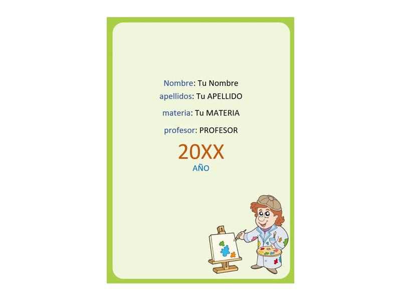 Caratula y Portada de Educación Artística en Word 10