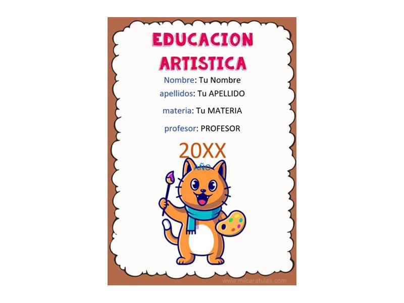 Caratula y Portada de Educación Artística en Word 3