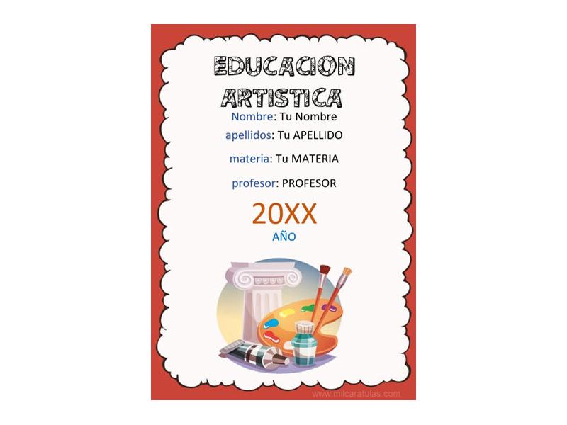 Caratula y Portada de Educación Artística en Word 7