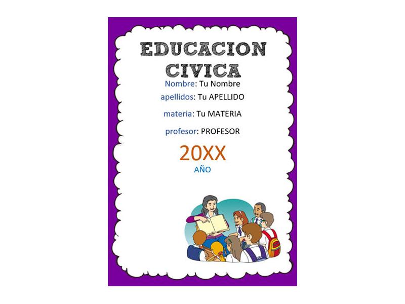 Caratula y Portada de Educación Cívica en Word 1