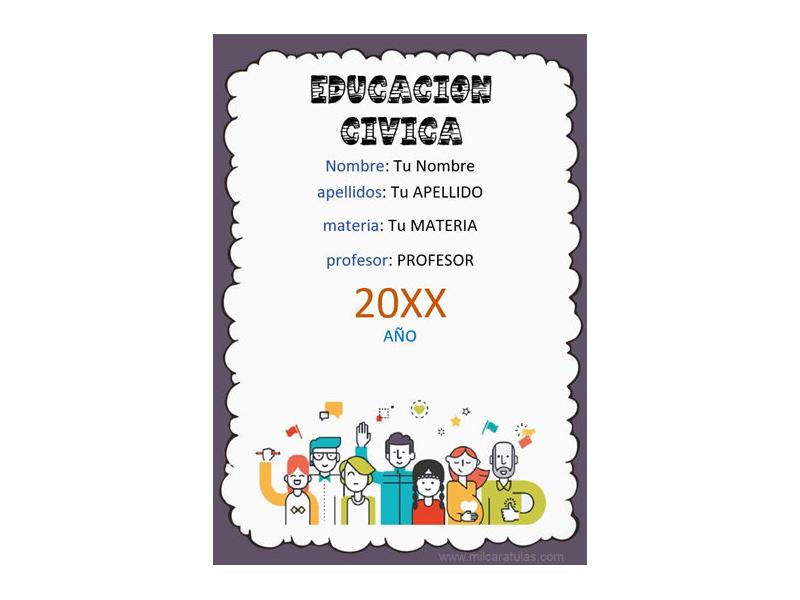 Caratula y Portada de Educación Cívica en Word 5