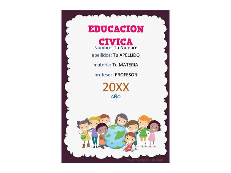 Caratula y Portada de Educación Cívica en Word 6