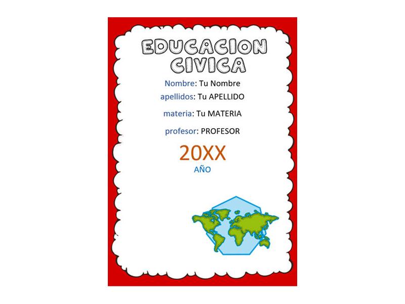 Caratula y Portada de Educación Cívica en Word 7