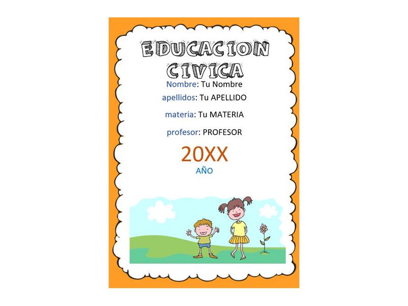 Caratula y Portada de Educación Cívica en Word 8