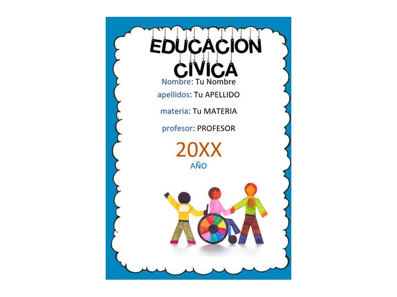 Caratula y Portada de Educación Cívica en Word