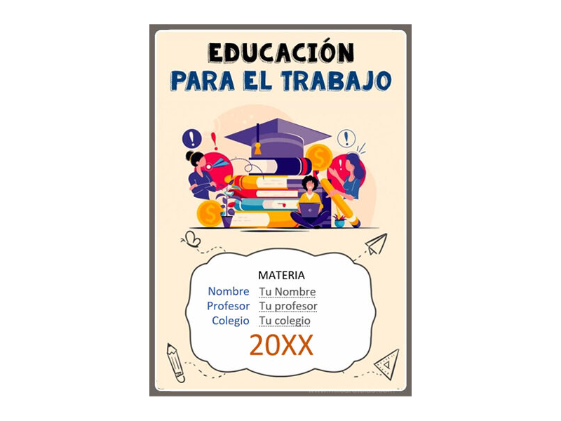 Caratula y Portada de Educación para el trabajo en Word 7