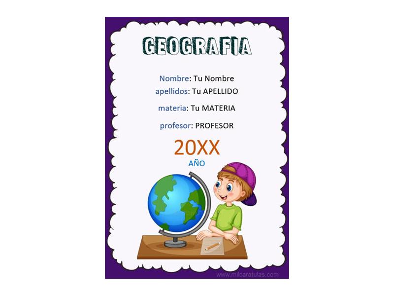 Caratula y Portada de Geografía en Word 1