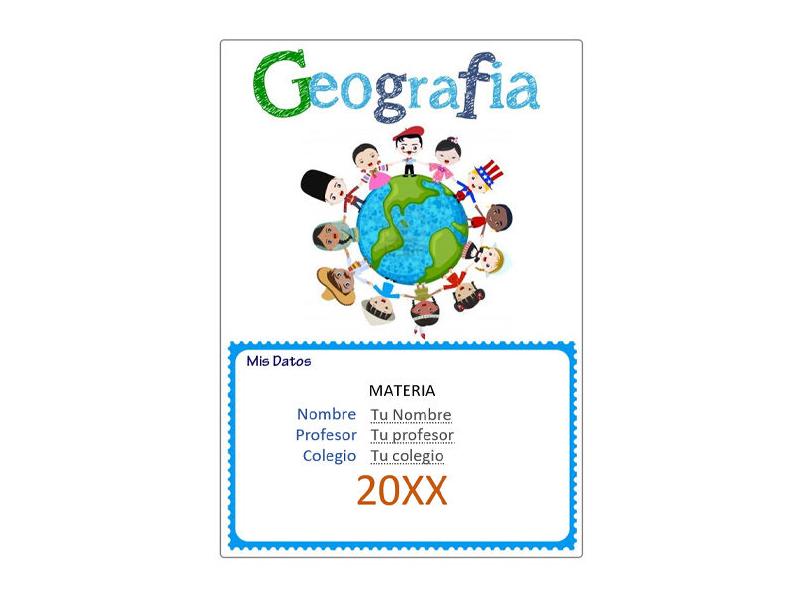 Caratula y Portada de Geografía en Word 10