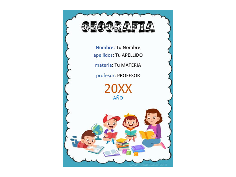 Caratula y Portada de Geografía en Word 2
