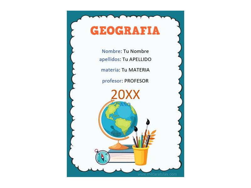 Caratula y Portada de Geografía en Word 3
