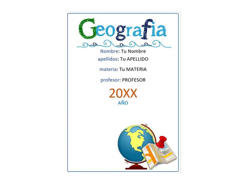 Caratula y Portada de Geografía en Word 4