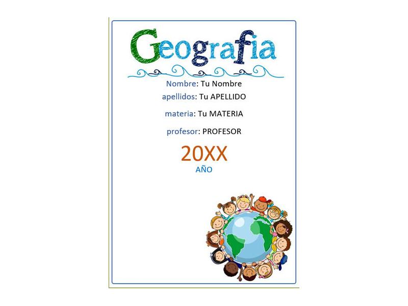 Caratula y Portada de Geografía en Word 6