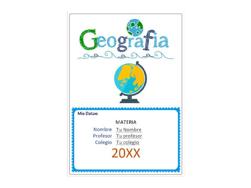 Caratula y Portada de Geografía en Word 7