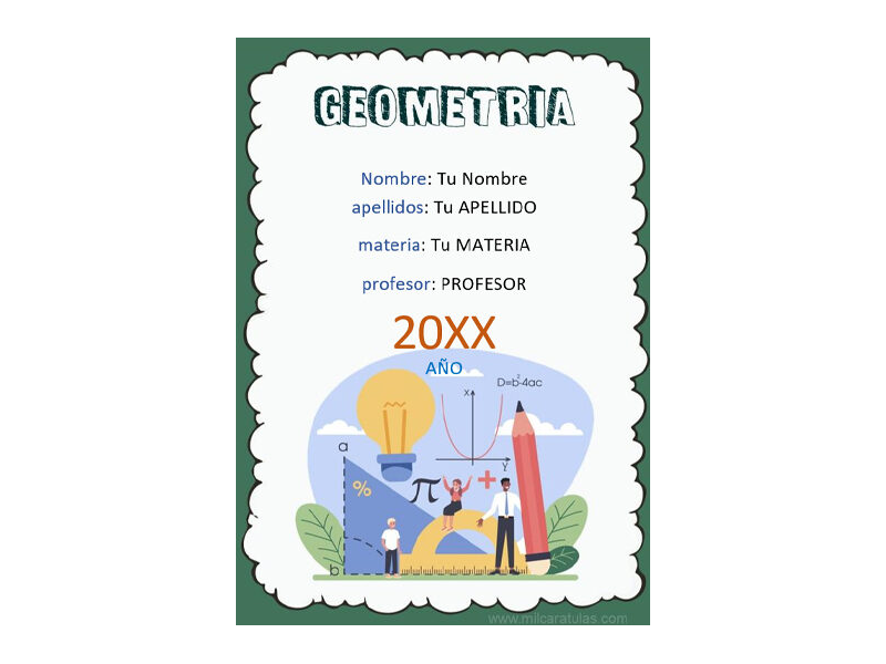 Caratula y Portada de Geometría en Word 2