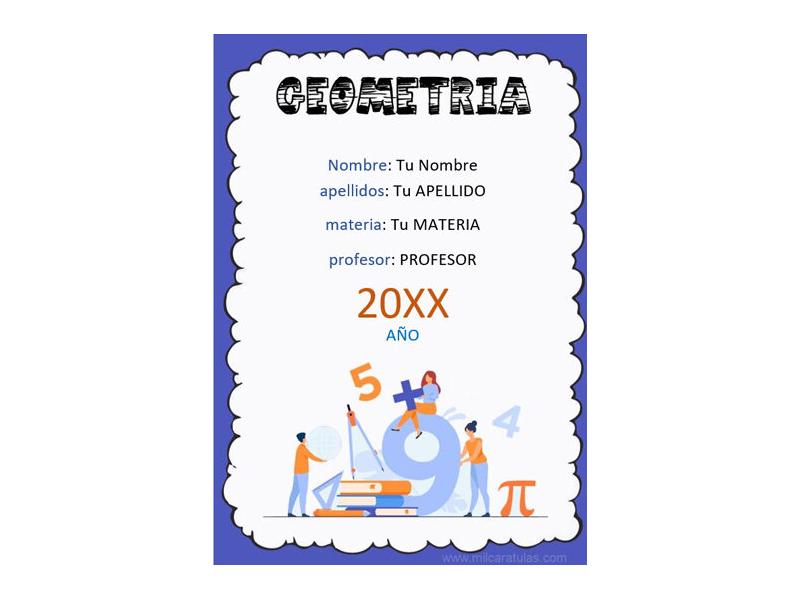 Caratula y Portada de Geometría en Word