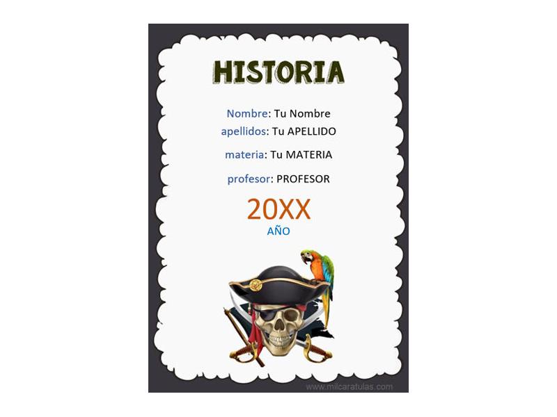 Caratula y Portada de Historia en Word 11