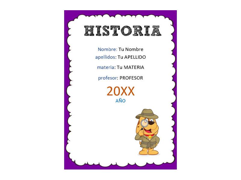 Caratula y Portada de Historia en Word 5