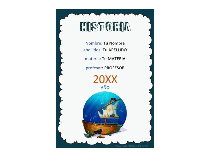 Caratula y Portada de Historia en Word 6