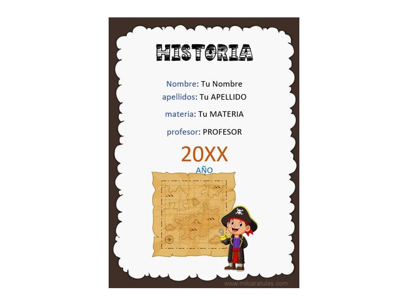 Caratula y Portada de Historia en Word 7