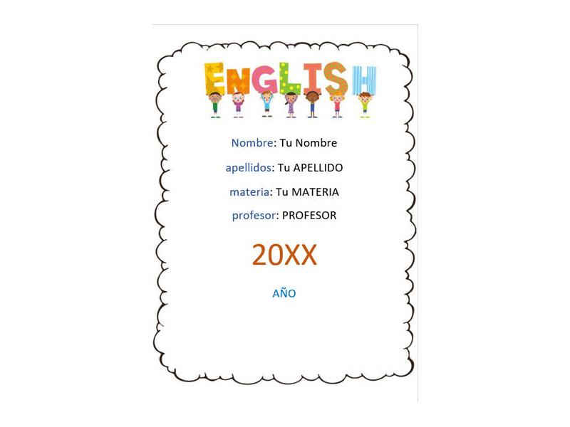 Caratula y Portada de Ingles en Word 14