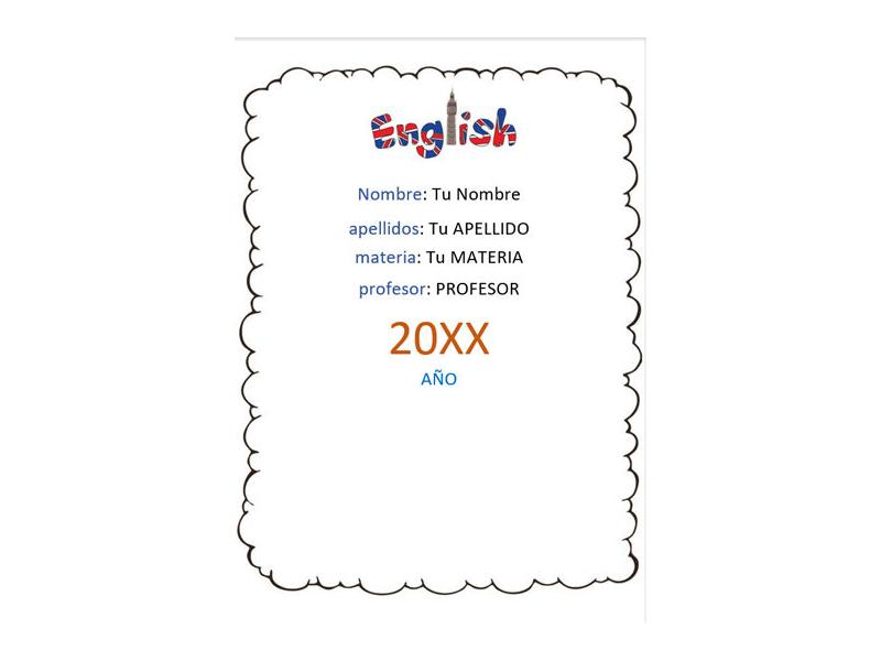 Caratula y Portada de Ingles en Word 16