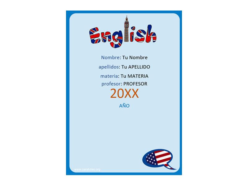 Caratula y Portada de Ingles en Word 6