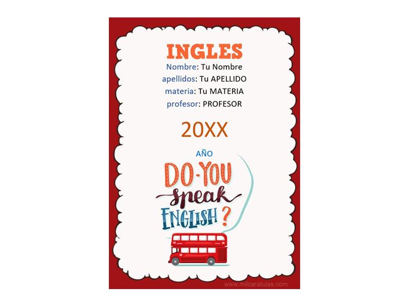 Caratula y Portada de Ingles en Word 7