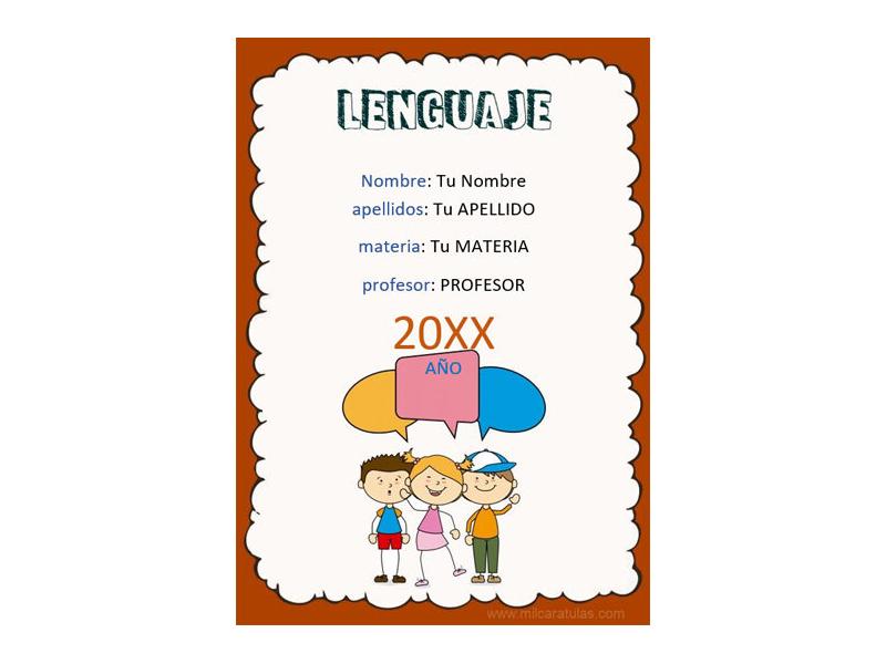 Caratula y Portada de Lenguaje en Word 1