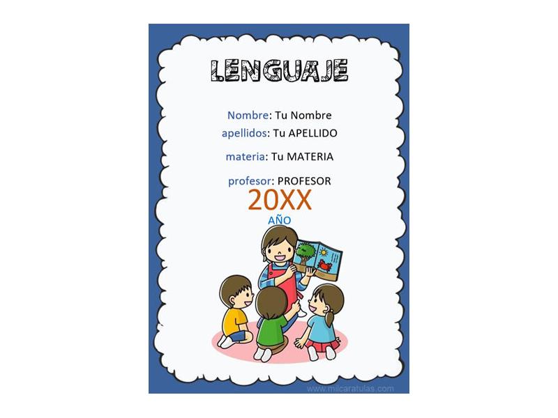 Caratula y Portada de Lenguaje en Word 5