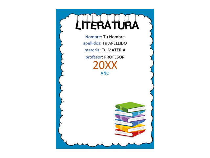 Caratula y Portada de Literatura en Word 1