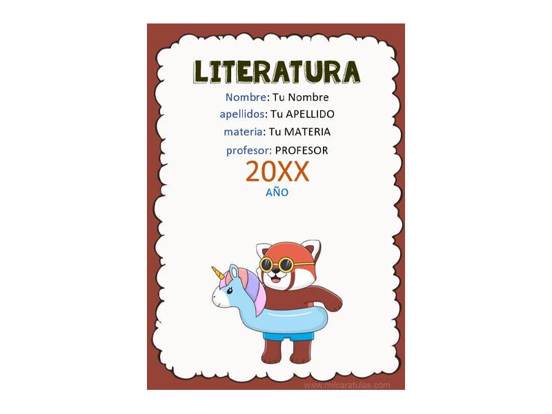 Caratula y Portada de Literatura en Word 2