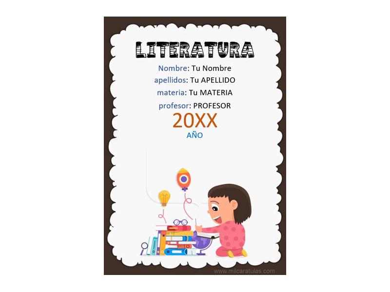 Caratula y Portada de Literatura en Word 4