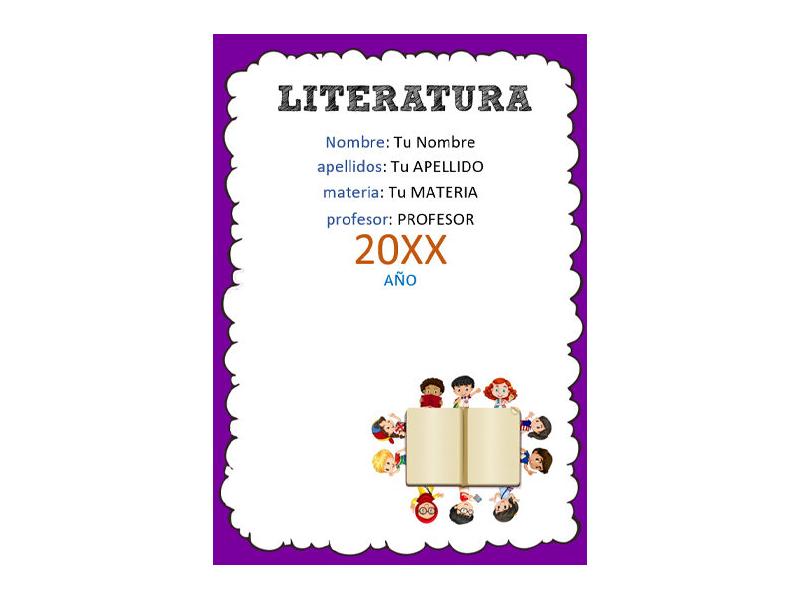 Caratula y Portada de Literatura en Word 5