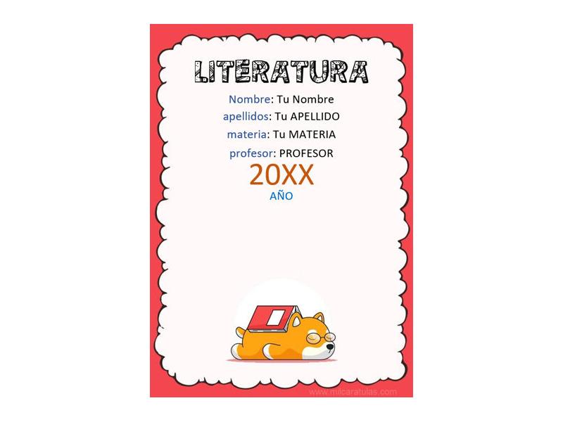 Caratula y Portada de Literatura en Word 6