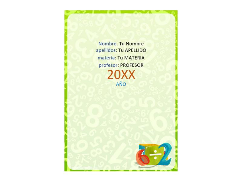 Caratula y Portada de Matemáticas en Word 10