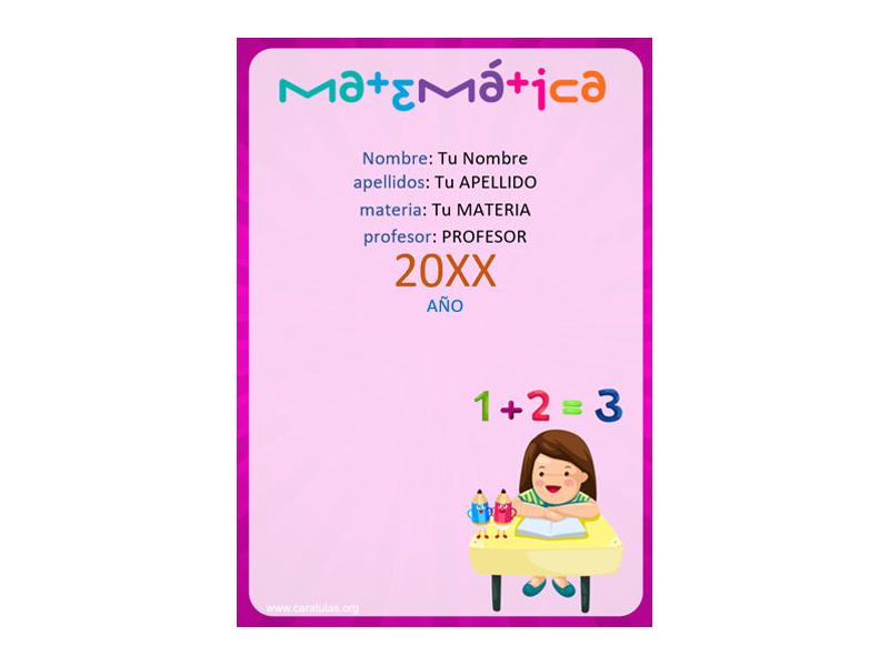 Caratula y Portada de Matemáticas en Word 19