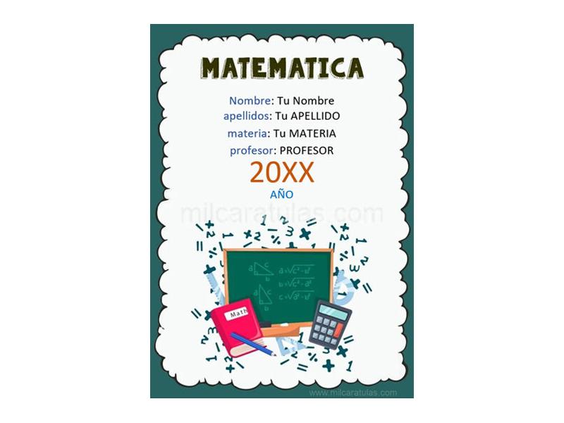 Caratula y Portada de Matemáticas en Word 2