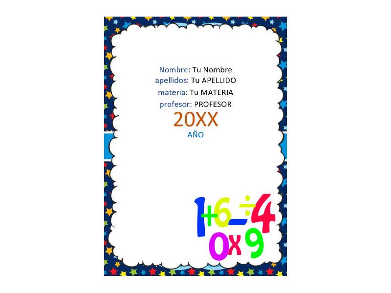 Caratula y Portada de Matemáticas en Word 23