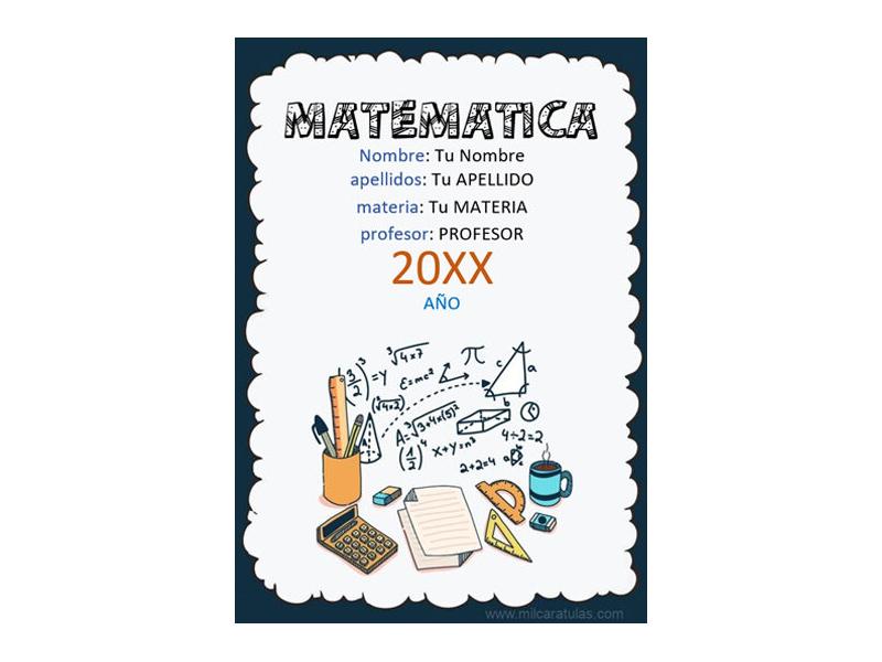 Caratula y Portada de Matemáticas en Word 3
