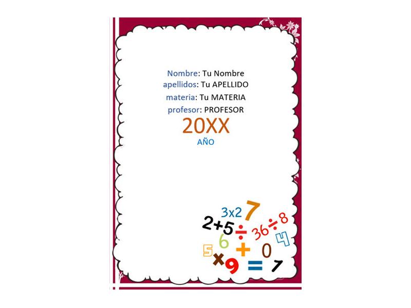 Caratula y Portada de Matemáticas en Word 4