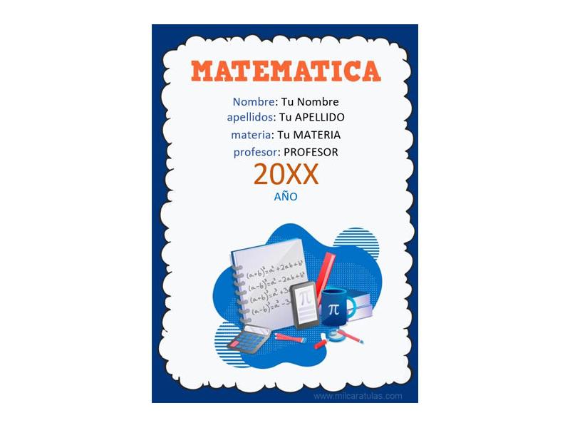 Caratula y Portada de Matemáticas en Word 6