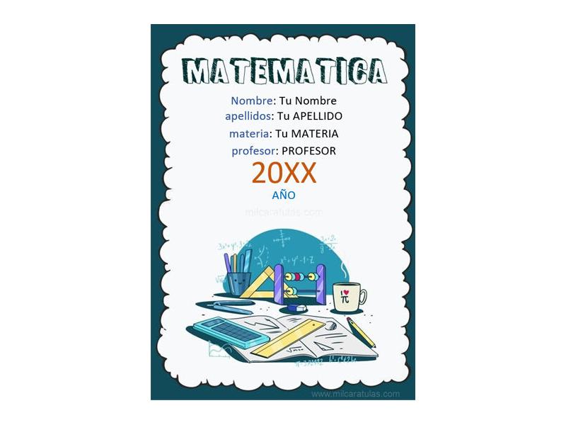 Caratula y Portada de Matemáticas en Word 7