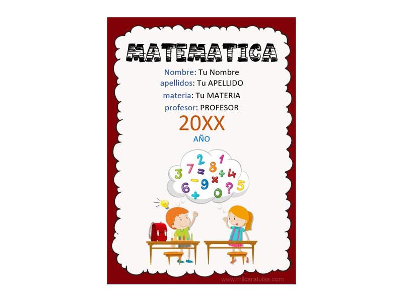 Caratula y Portada de Matemáticas en Word